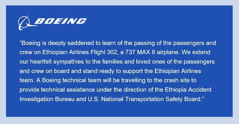 Updated Statement on Ethiopian Airlines Flight 302: https://boeing.mediaroom.com/news-releases-statements?item=130401…