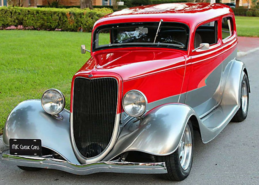 #Car Awesome of the Day: #Steampunk-ish ⚙️ Red Steel #RatRod #HotRod 🔧 1934 Ford Tudor Sedan via @USClassicAutos #SamaCars 🚗