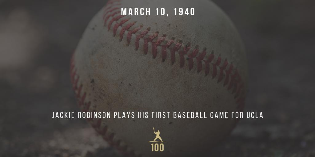 March 10, 1940 | Jackie Robinson plays his first baseball game for UCLA. #JackieRobinson #JR100 #OTD