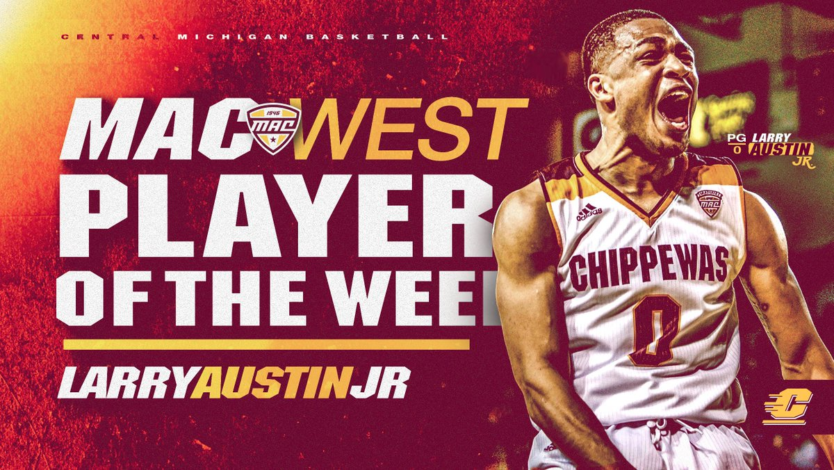 Larry Austin Jr. has been named MAC West Player of the Week for the 4th time this season after averaging 19.5 points, 8.5 rebounds, 8.5 assists and 3.0 steals last week.  In the win over WMU, Austin set the CMU single-season record for steals with 68.   #FireUpChips 🔥⬆️🏀