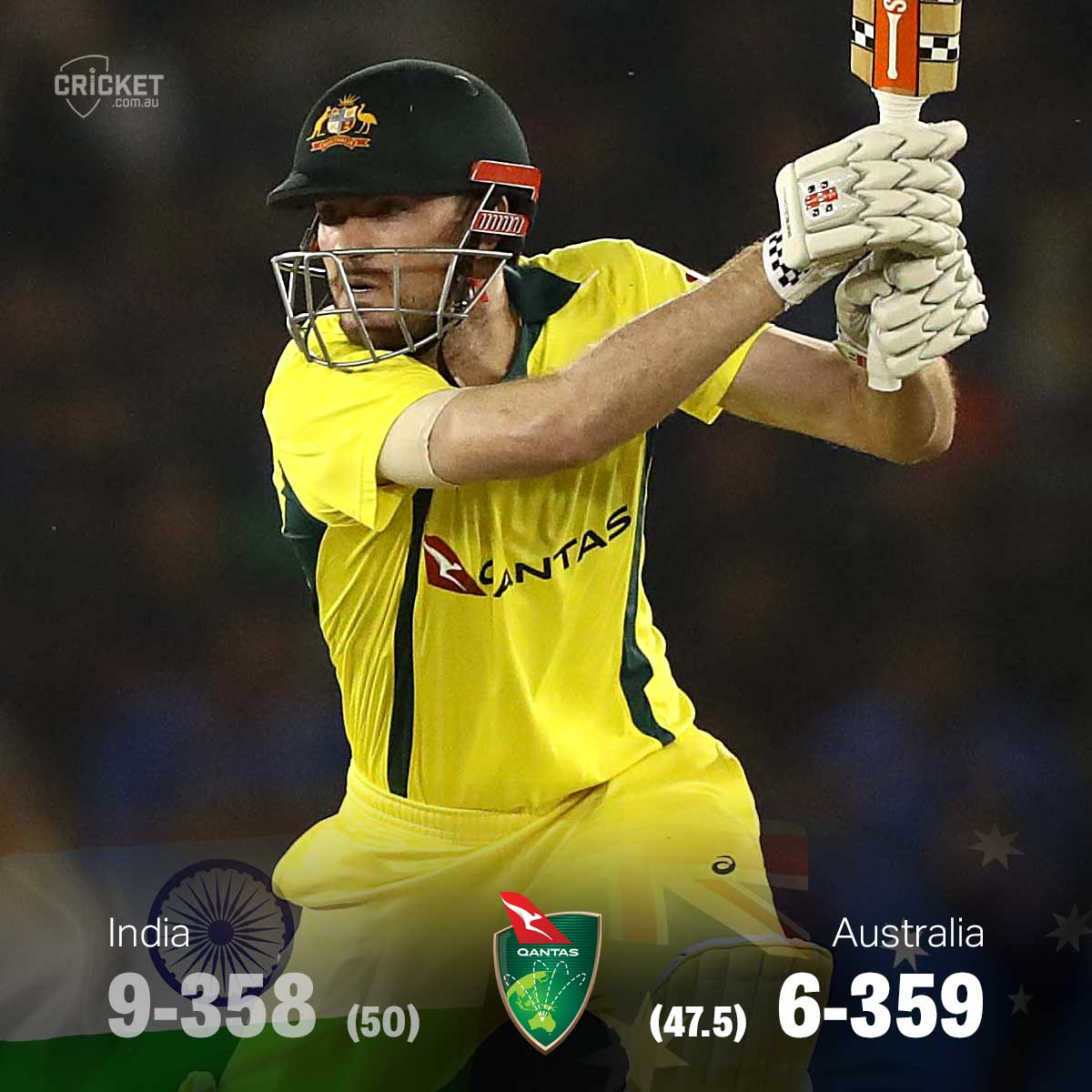 AUSTRALIA WIN! Ashton Turner take a bow. The series is tied, we have a decider on Wednesday! #INDvAUS