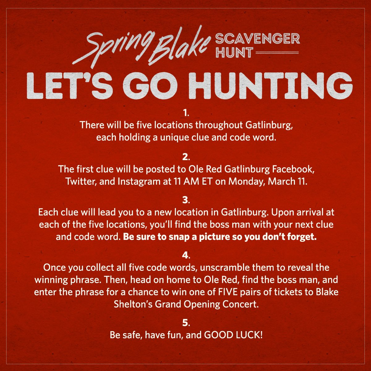 Let's go hunting y'all! Head over to @OleRedGburg's account to get the first clue tomorrow at 11am ET! - Team BS https://t.co/bx4m6kkbV9