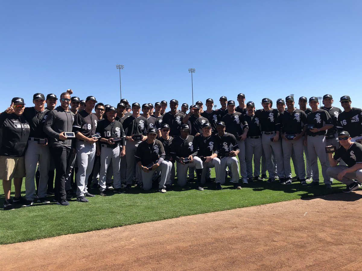 Members of the 2018 @gfvoyagers team received their Pioneer League championship rings prior to today's #SoxSpringTraining game. Congratulations! <br>http://pic.twitter.com/IblCWZslk4