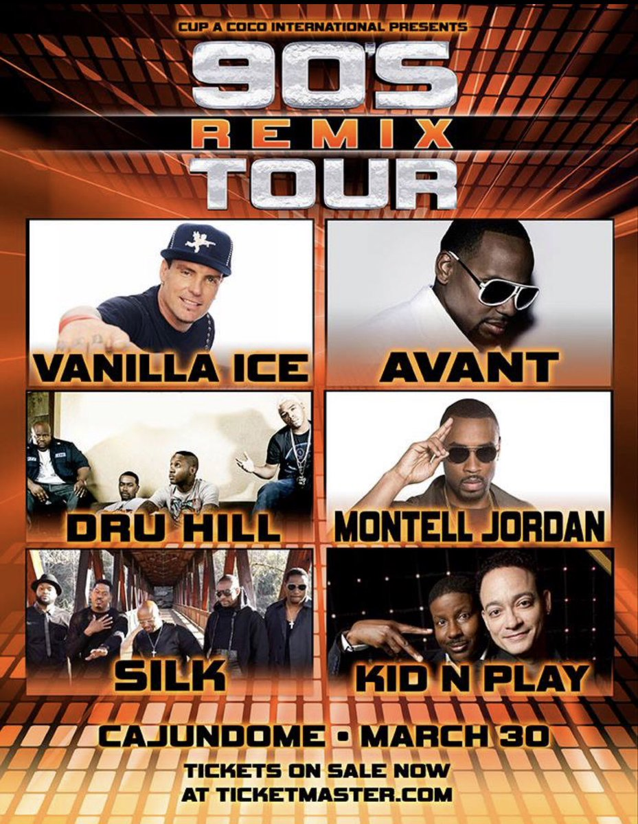 📢Lafayette, LA and all surrounding areas... y'all ready for The 90's Remix Tour?! Sat., March 30th at the @cajundome! #Silk #DruHill #KidNPlay #Avant #VanillaIce #MontellJordan Tickets on sale now at @Ticketmaster! #90sRemixTour #LafayetteLA