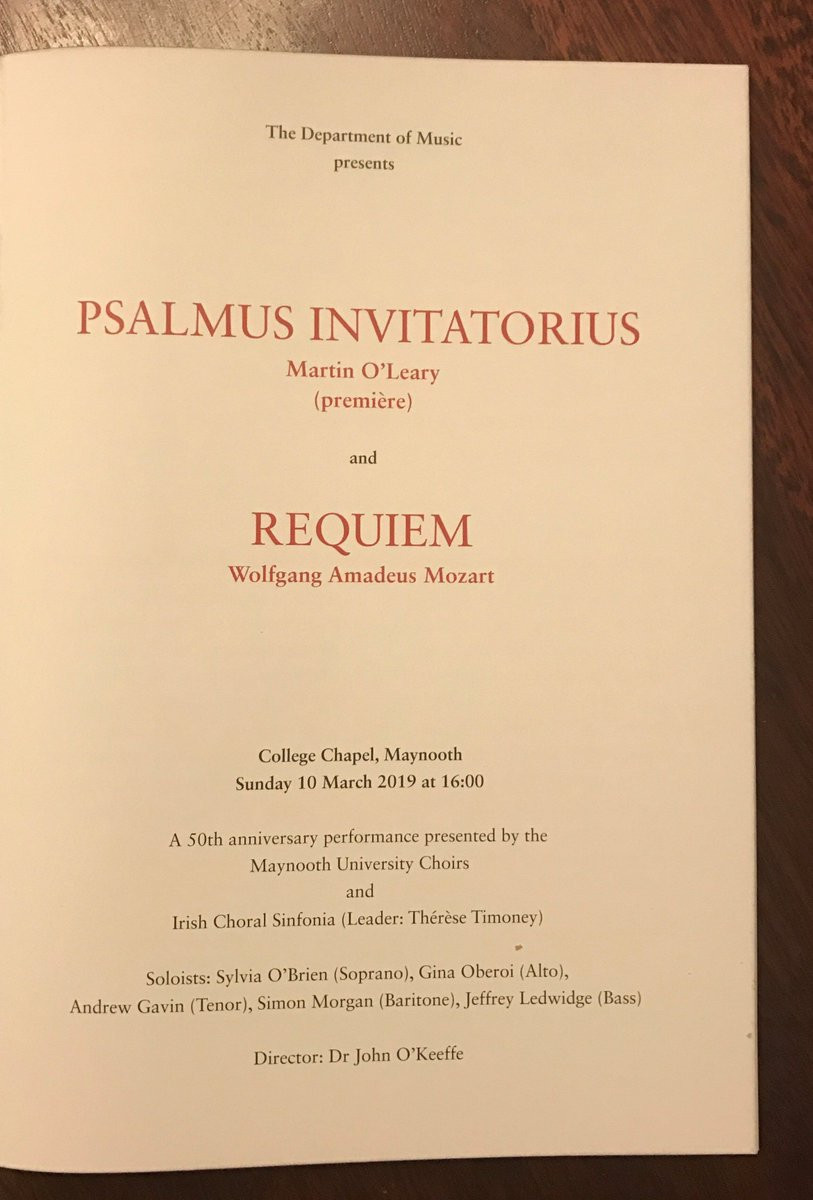 What a magnificent afternoon of music: the premiere of Martin O'Leary's stunning new work 'Psalmus Invitatorius', followed by Mozart's 'Requiem, to celebrate the 50th anniversary of the Maynooth Choral Society. @MusicMaynooth