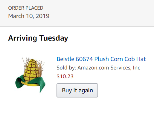 Beistle 60674 Plush Corn Cob Hat