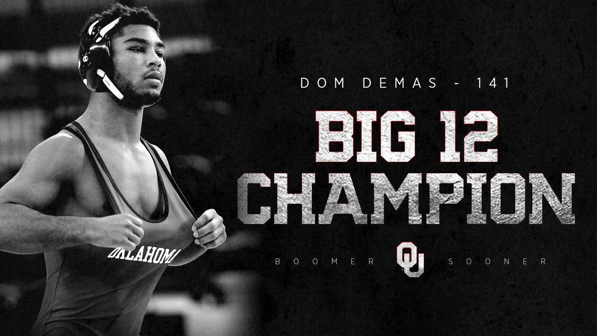 Dom Demas is your Big 12 Champion at 141 pounds!  @domonick_demas becomes OU's first Big 12 Champion at 141 since Sooner great Kendric Maple in 2014, and has punched his ticket to the 2019 NCAA Championship!