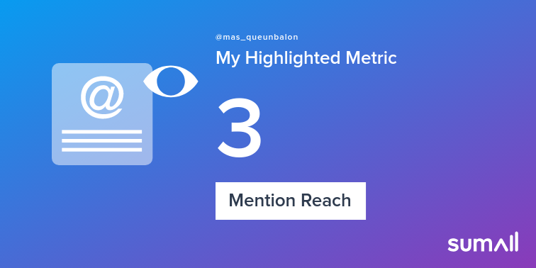 My week on Twitter 🎉: 1 Mention, 3 Mention Reach. See yours with https://t.co/tPkunXiHW2 https://t.co/9RBg7LSQRG