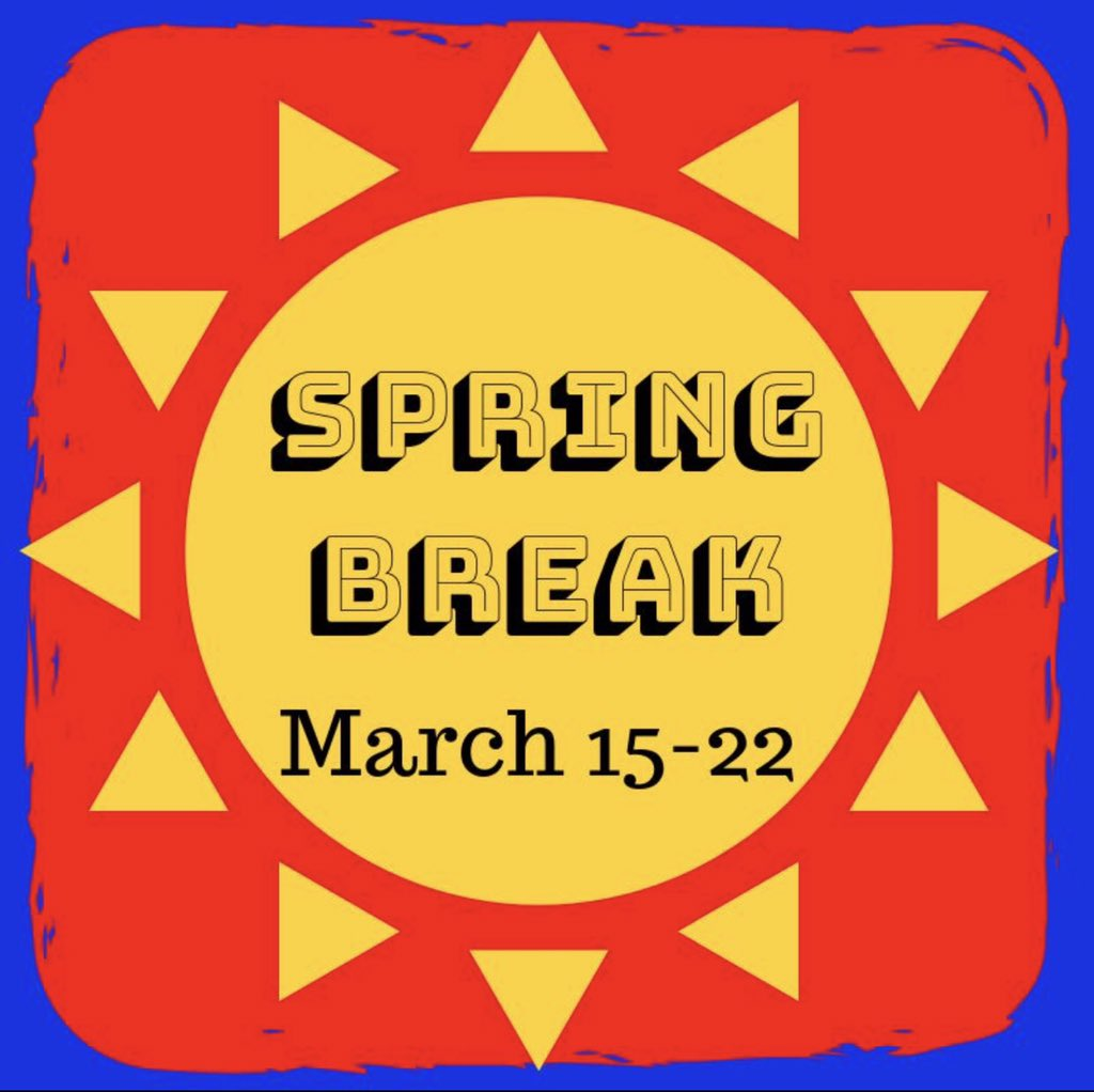 This is the last week before Spring Break. Spring Break will begin on Thursday 3/14, with an early dismissal (parent teacher conferences will follow from 1:00-8:00). @HenryElementary @CIScards345 @CMSCardinals @CHSCards @ClintonTechSch  #CardinalPride