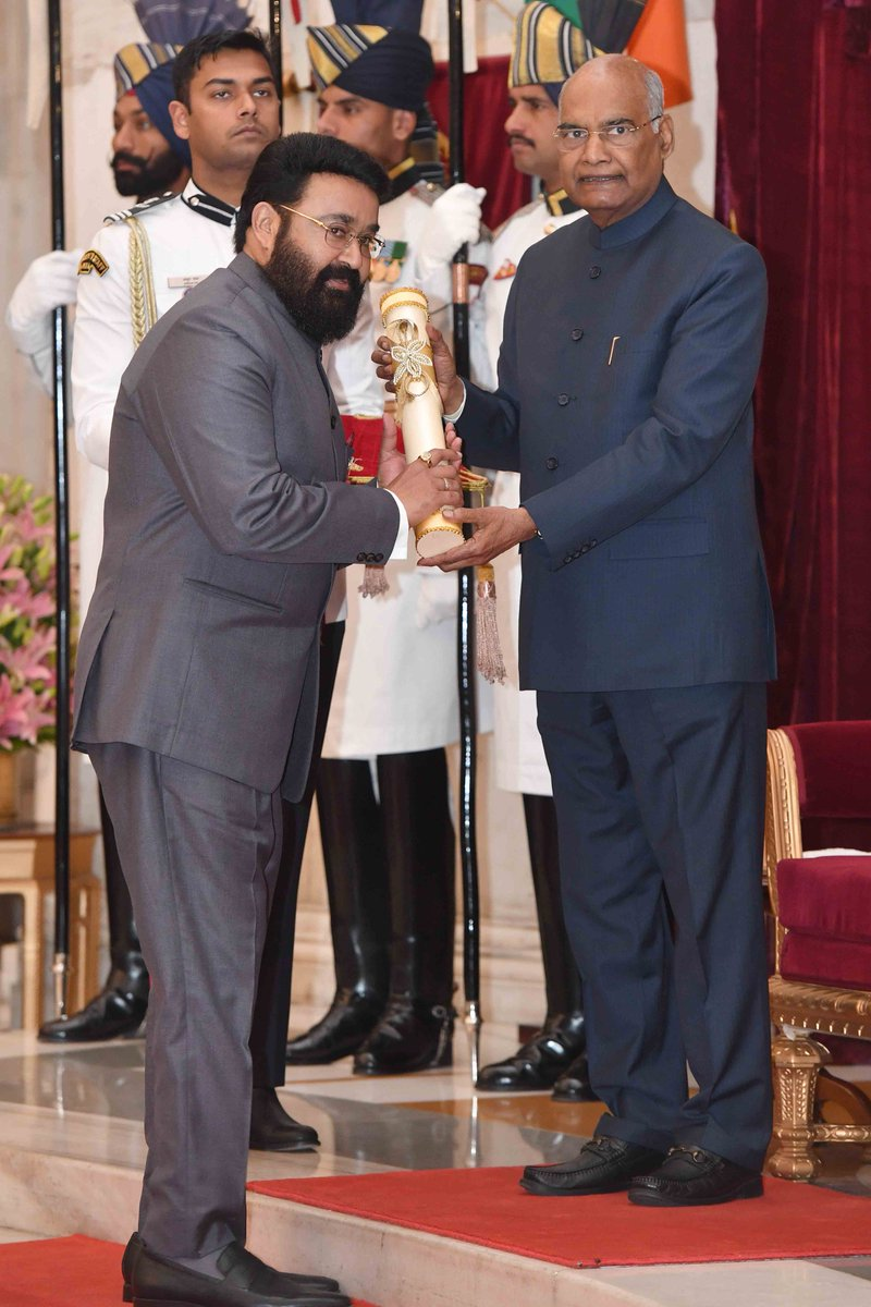 President Kovind presents Padma Bhushan to Shri Viswanathan Mohanlal for Art. A renowned film actor from Kerala, Shri Mohanlal has acted in about 350 films, in a career spanning 40 years