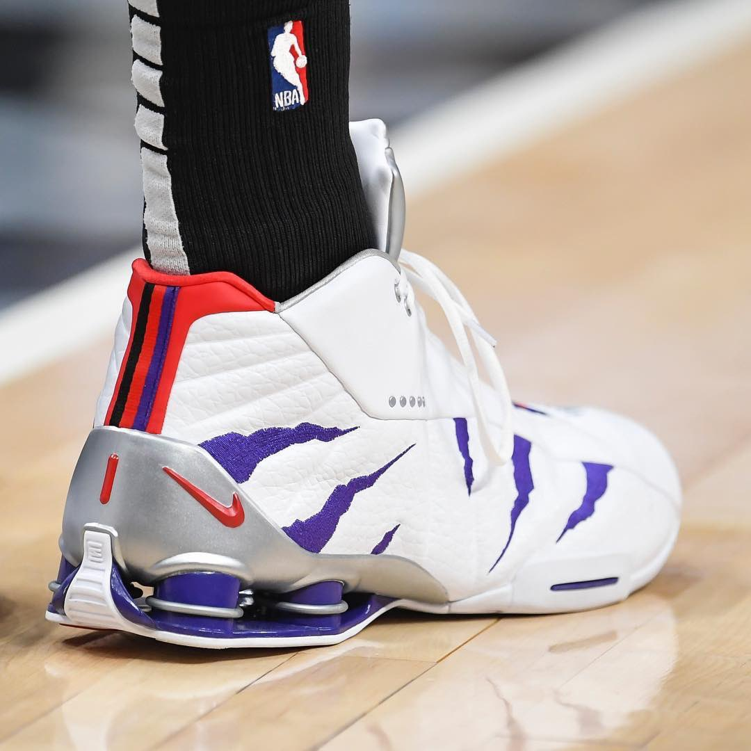 666e85c6af3bb8 kicksoncourt vince carter in a raptors inspired nike shox bb4 today in  miami dale zanine