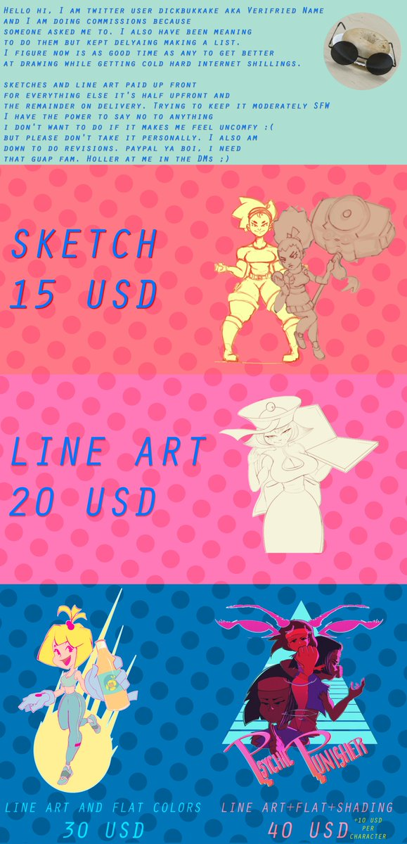 Hi, I'm doing commissions.  Starting at 15 American Ruples. DM if interested.