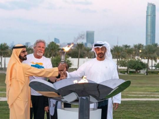 UAE leaders receive Special Olympics Flame of Hope https://t.co/dY3Byc8chu https://t.co/7R7AaWRJP7