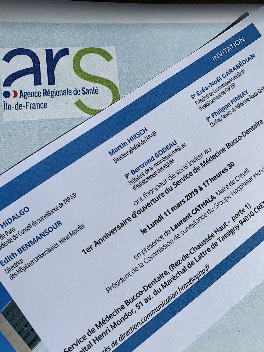 Aujourd'hui @ARS_IDF sera aux côtés du Pr Pirnay et son service universitaire bucco-dentaire 😁 de haut niveau qui illustre la place du groupe hospitalier Mondor : excellence🏆 + territoire 👣