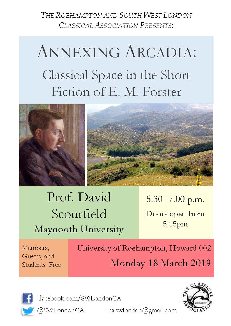 Prof David Scourfield of @MU_Classics will be at @RoehamptonUni next week revealing to UR Classics and @SWLondonCA and all who'd like to join us about how E.M. Forster annexed antiquity :) All welcome!
