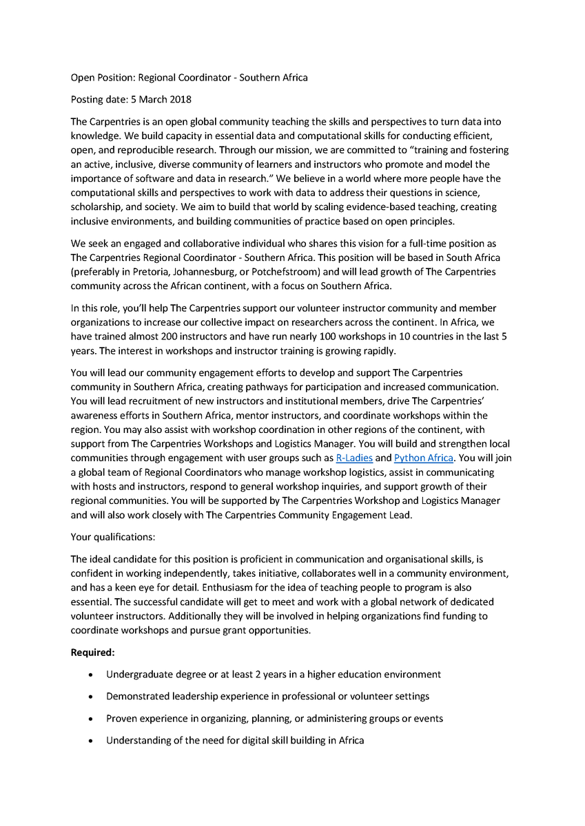 Open Position: Regional Coordinator - Southern Africa. The Carpentries is an open global community teaching the skills and perspectives to turn data into knowledge. An engaged  individual who shares this vision is sought for a full-time position. https://carpentries.org/regional-coordinator-southern-africa/…