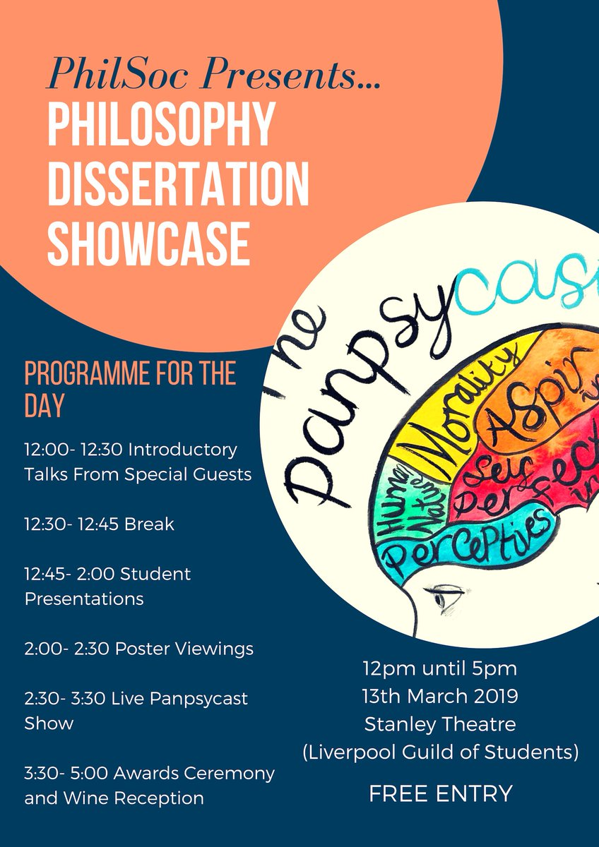 Join us on Wed pm for our 1st Dissertation Showcase @LiverpoolGuild. Organised by PhilSoc &amp; featuring posters &amp; talks frm UG &amp; MA dissertation students &amp; @sotauol SOTA300. Special guests @ThePanpsycast! All welcome, wine incl! @livuniHSS @livunicareers  https://www. liverpool.ac.uk/philosophy/new s/stories/title,1123351,en.html &nbsp; … <br>http://pic.twitter.com/f5ahYdL9GY