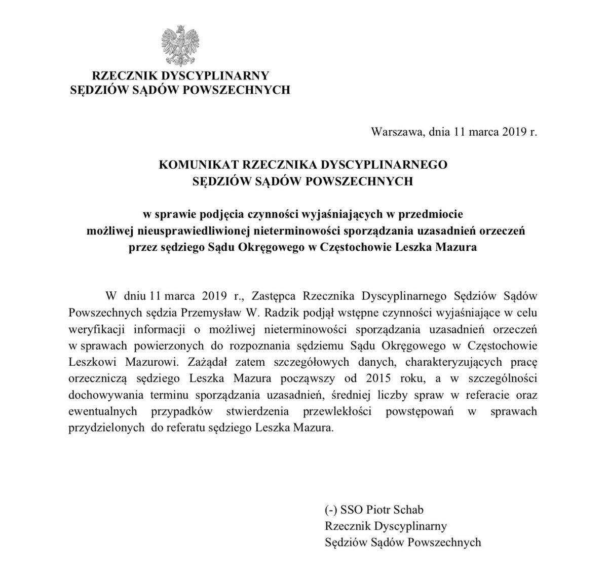 Z życia Krajowej Rady Sądownictwa: jej przewodniczący, Leszek Mazur będzie musiał wyjaśnić powody 112 opóźnień w sporządzaniu wydawanych przez siebie wyroków w Sądzie Okręgowym w Częstochowie: