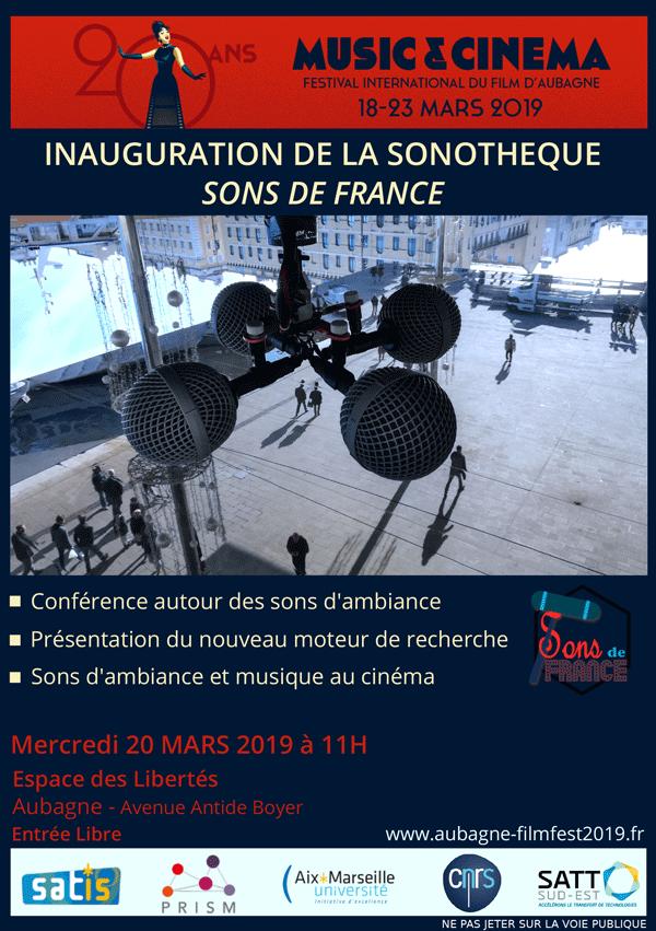 🎟 #AvantPremière découvrez le tout nouveau moteur de recherche #SonsDeFrance 🎧 🎤 🎼 @univamu @CNRS @SATTse_ lors du @AubagneFilmFest | @ReseauSATT   Conférence autour des sons d'ambiance et musique au cinéma le 20/3 11h à l'Espace des Libertés Aubagne http://ow.ly/7QeV50mXiib