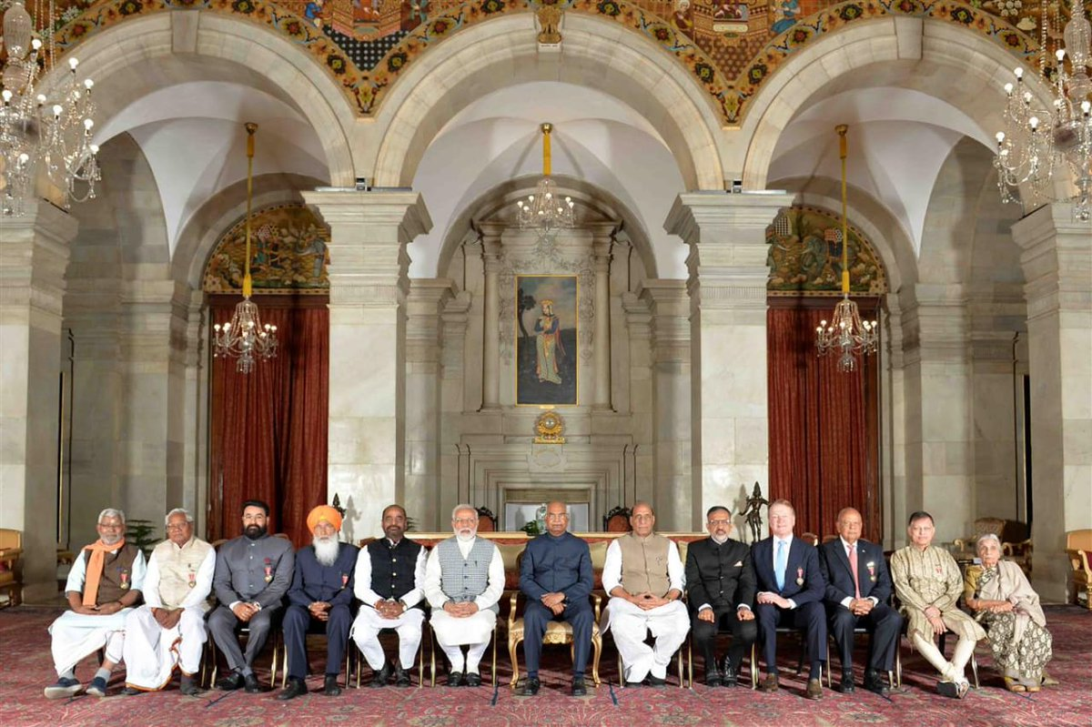 Unfeigned congratulations and wishes to the fellow awardees of #PadmaBhushan, on spheres different. @rashtrapatibhvn @narendramodi @PMOIndia @rajnathsingh
