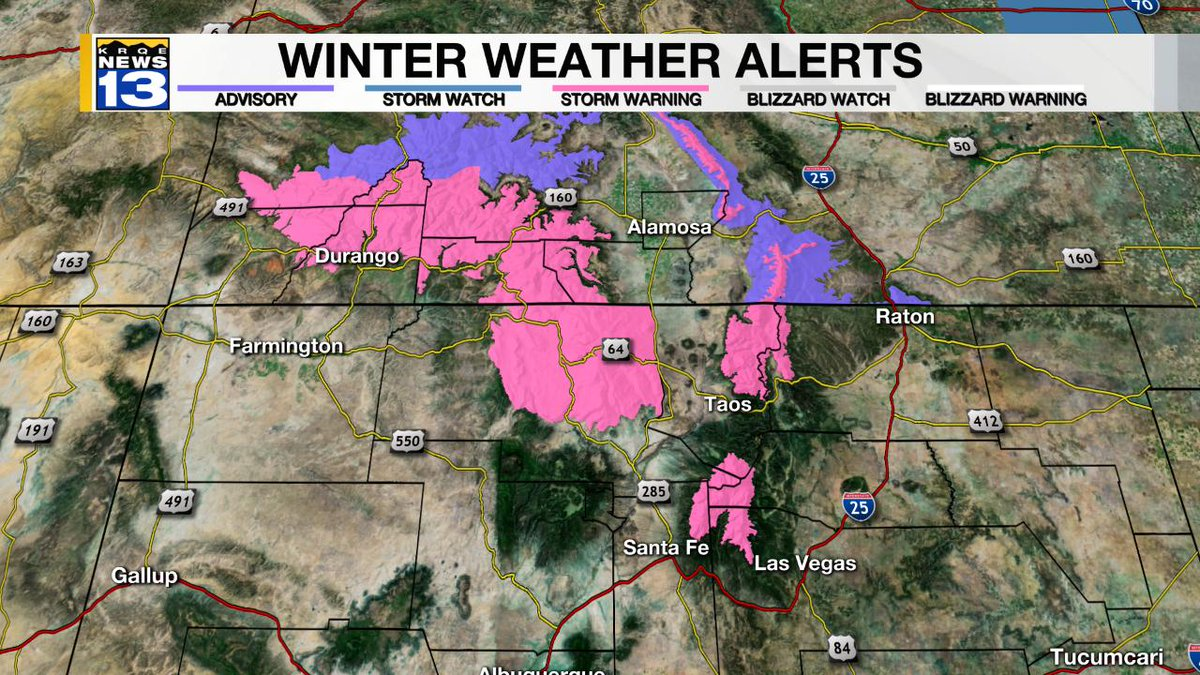 KristenCurrieTV WINTER STORM WARNING in effect 6AM today (MON) through 6PM TUE. Heavy snow accumulation (10&quot;-20&quot;) possible +9500ft. #NMwx #NewMexico krqe<br>http://pic.twitter.com/kzTUiLupYQ