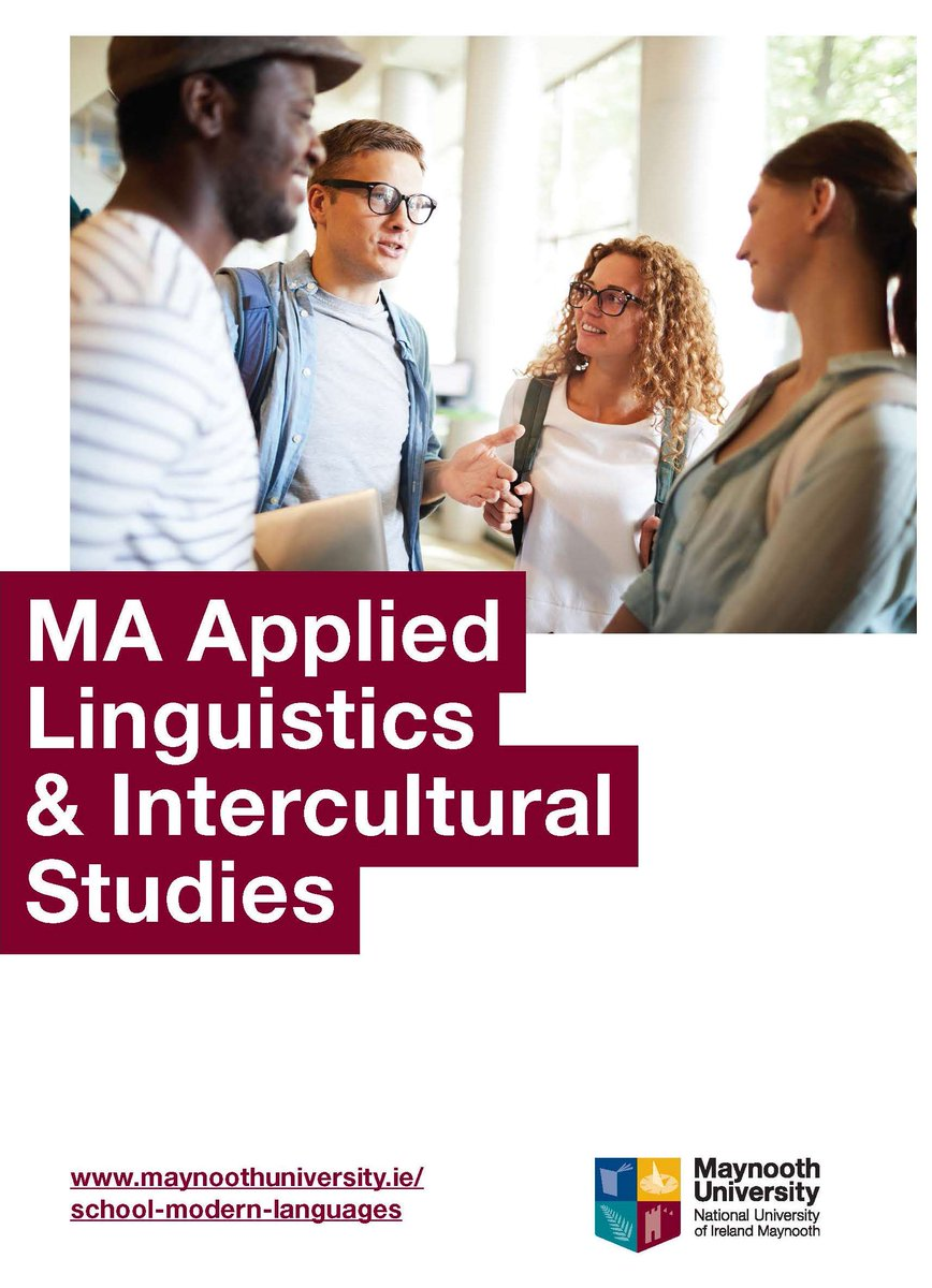 The School of Modern Languages, Literatures and Cultures @MaynoothUni is introducing a new #MA in Applied #Linguistics & #InterculturalStudies this coming September! For further info, contact Dr @Clive_Earls or visit: http://www.maynoothuniversity.ie/study-maynooth/postgraduate-studies/courses/ma-applied-linguistics-intercultural-studies…
