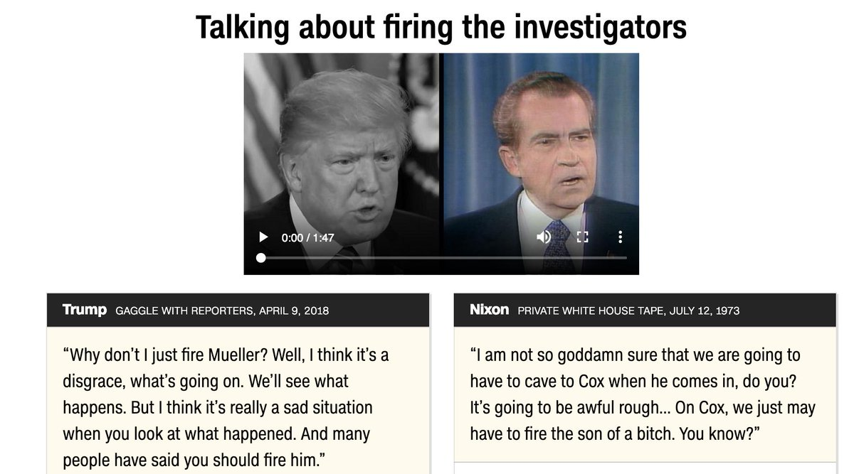 Nixon fired Cox, Trump fired Comey.