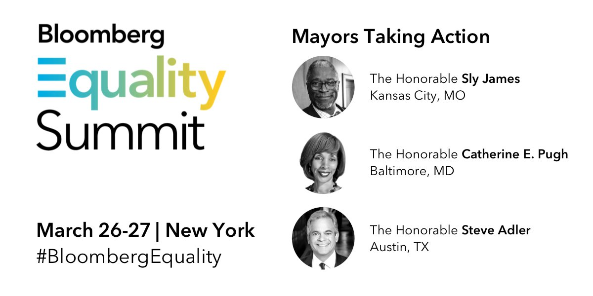 On March 27 at #BloombergEquality @BloombergTV Anchor @CarolMassar will talk with @MayorAdler, @MayorSlyJames and @MayorPugh50 about the strides towards equality and inclusion they've made in their respective cities. 🏙️