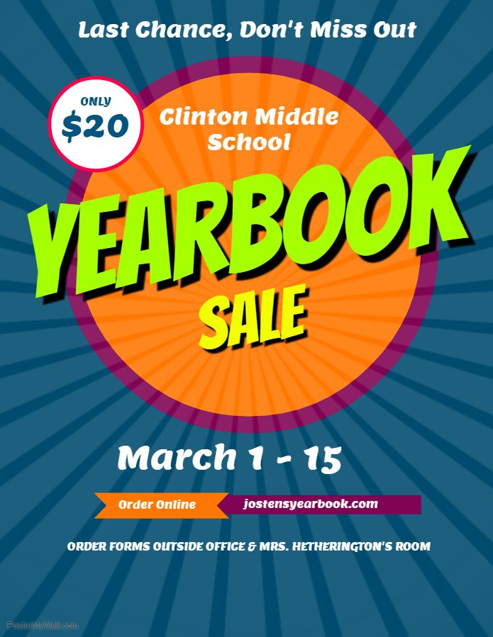 Attention Students and Parents! If you have not purchased a CMS yearbook, now is the time.  Order forms are available in the office or outside Mrs. Hetherington's classroom.  A sales table will also be set up at PT conferences on Thursday.