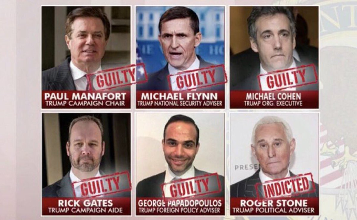 Trump Administration (so far)  191 charges 75 indictments 26 Russian nationals 6 indicted Trump officials 5 guilty pleas 5 convictions 3 Russian companies So many witches  Obama Adminstration (8 years)  0 charges 0 indictments 0 guilty pleas 0 convictions 0 witches