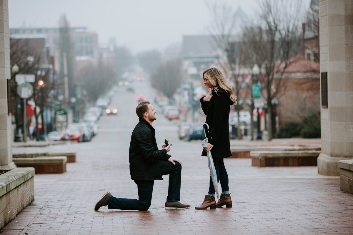 I got to hide behind a tree and photograph my dear friend's engagement in Bloomington.