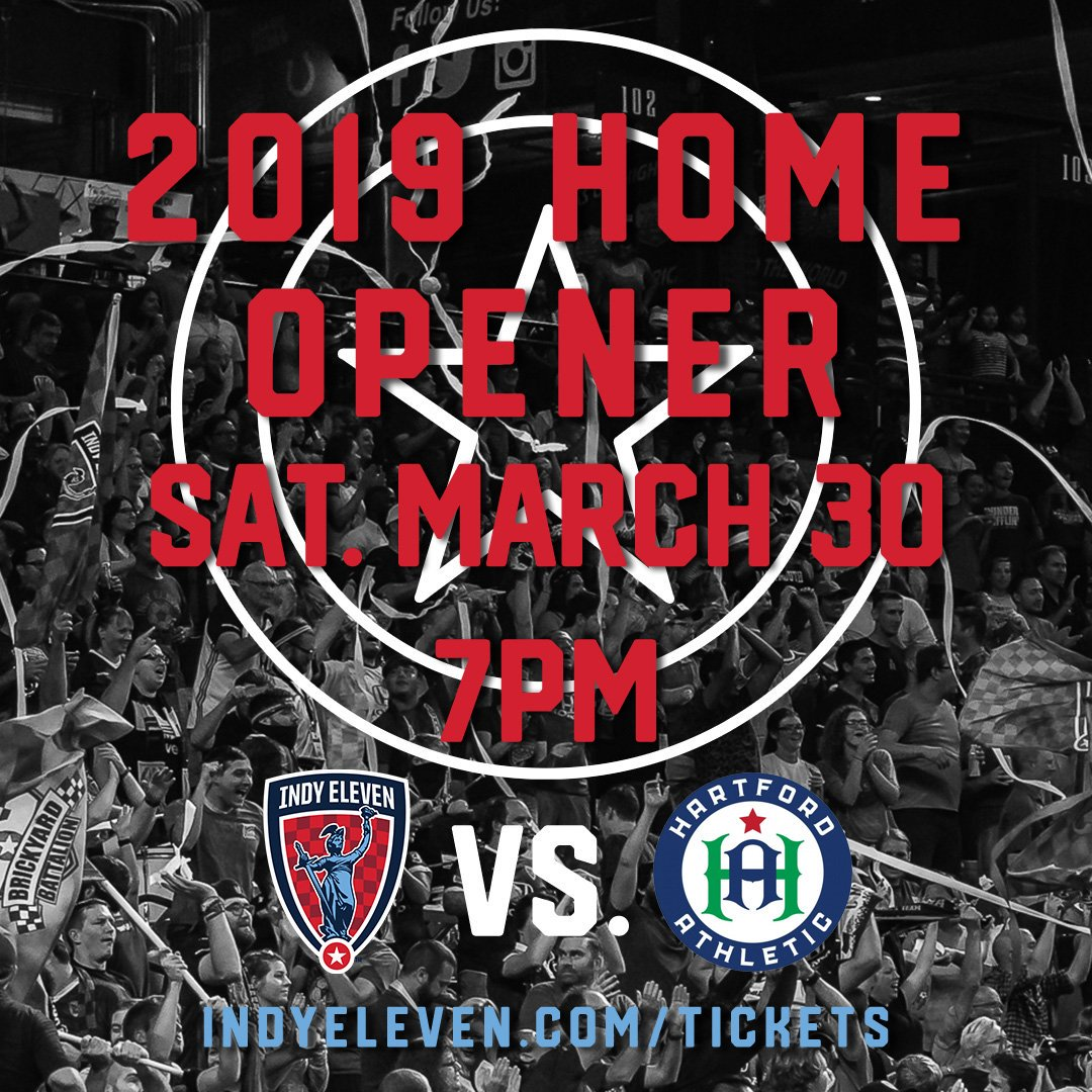 Our 2019 Home Opener will be here before you know it.   Don't miss our first home match of the season vs. @hfdathletic on Saturday, 3/30 at 7:00pm.  🎫 Join us ➡️ https://www1.ticketmaster.com/indy-eleven-vs-hartford-athletic/event/05005647AAC438F7?dma_id=303&_ga=2.208076626.1794495682.1550067379-1729714224.1504137339#efeat6916 …  #HereToPlay | #IndyForever