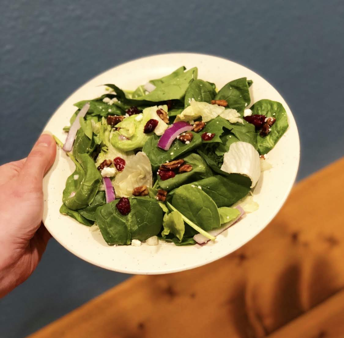 Like if you're a #cranfan! 🚩 Cran⭐tastic Salad is BACK!   With leafy greens, red onions, dried cranberries, candied pecans, feta cheese, & Raspberry Vinaigrette - it's the the perfect mix of sweet & savory!  Find a Ranch near you and give it a try today! http://bit.ly/2AtPYAf