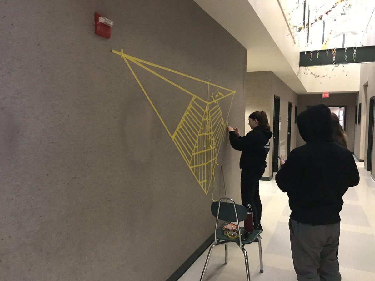 #lamoillelearns 2 pt perspective using @LUHSLancers walls as canvas ❤️ @LikhiteSabine #k12artchat