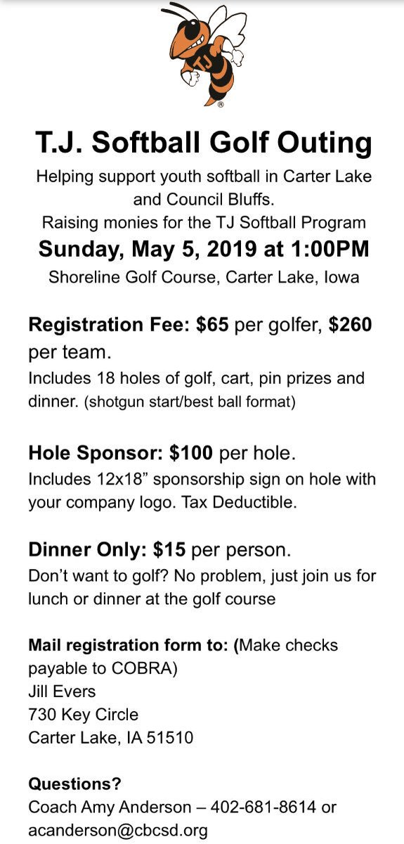 The annual golf outing is just around the corner! This event is one of our favorites, and always a lot of fun. We hope to see you there! @CBTJBaseball @TJHighSchool_CB