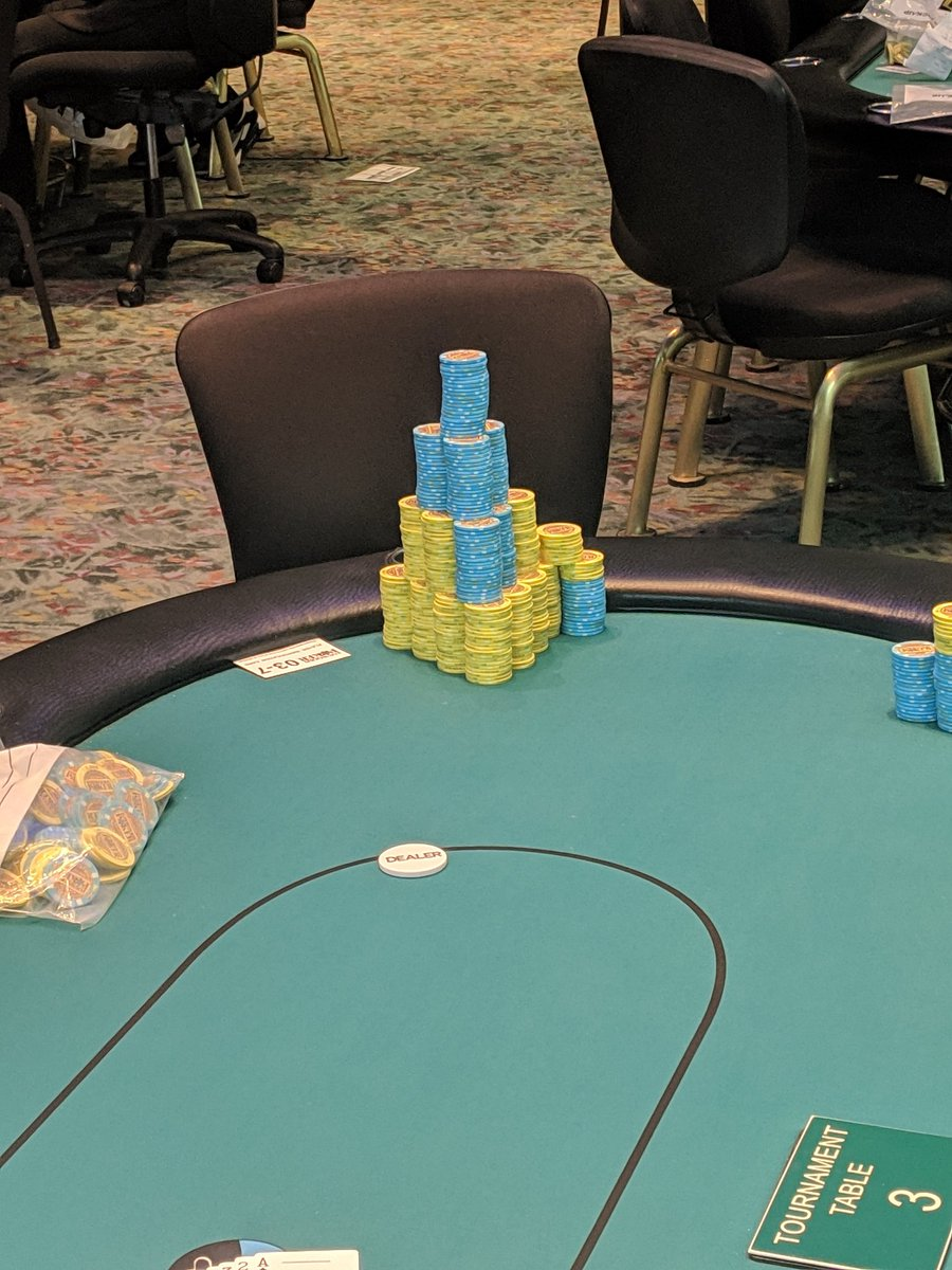 Starting day 2 with a pile of chips but I won't be satisfied until I have them all! Time to go to work