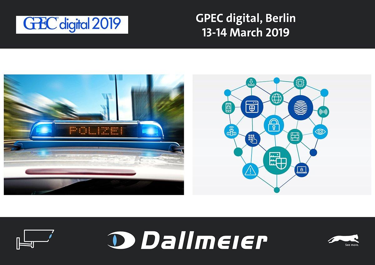 @Dallmeier_de auf der #GPEC digital 2019, General Police Equipment Exhibition & Conference/digital, März 13-14. Am Stand E29 präsentieren wir Techniken zur Automatisierung polizeilicher Abläufe und eine kritische Trendbewertung des Themas #KI. https://www.gpecdigital.com/video-intelligence-2019/…pic.twitter.com/lYNzArG5mm
