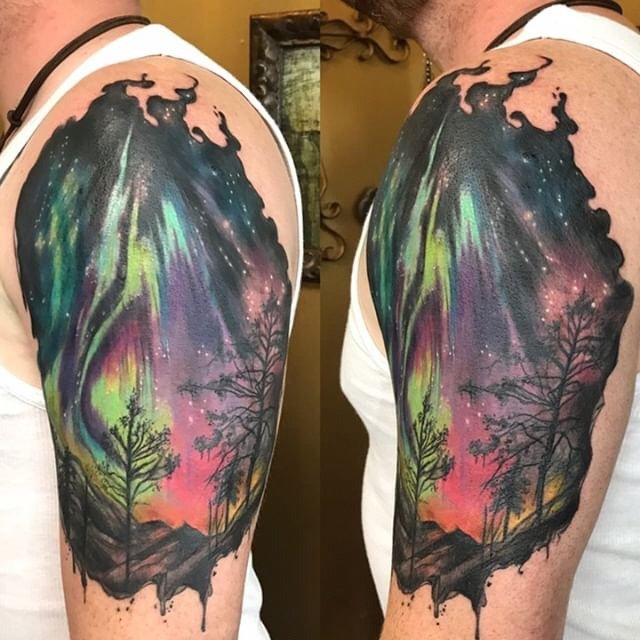Such a cool concept! Check out this Aurora Borealis (Northern Lights) tattoo by @RachelHtattoo. #InkMaster<br>http://pic.twitter.com/fFgWBXeDvd