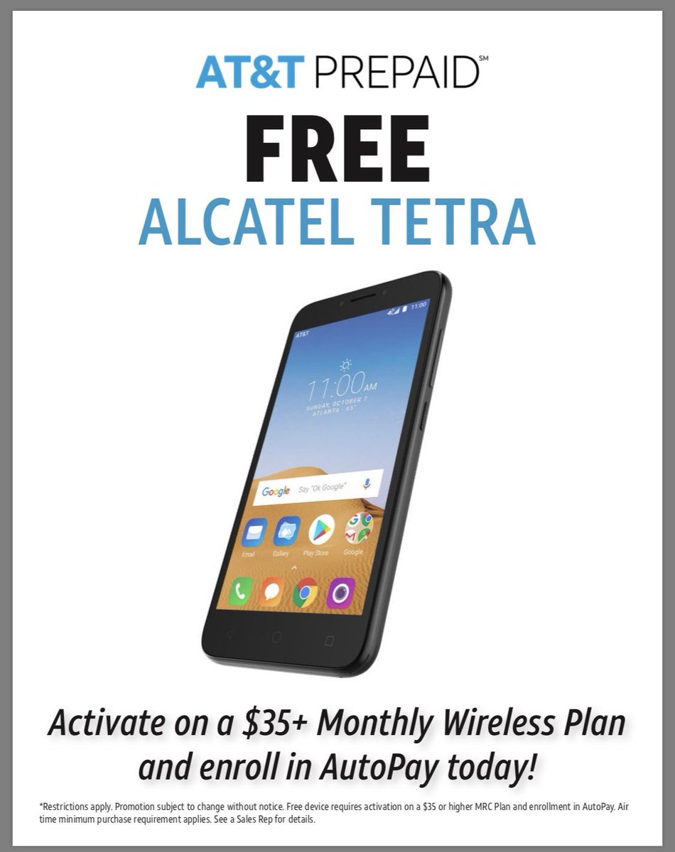 Don't want a phone contract? Come see one of our AT&T stores and get a FREE Alcatel Tetra with a $35 AT&T Prepaid with AutoPay!! http://ATTexperience.com/locations #ATT #Prepaid #ATTSlamDunk #DealsRMyThing