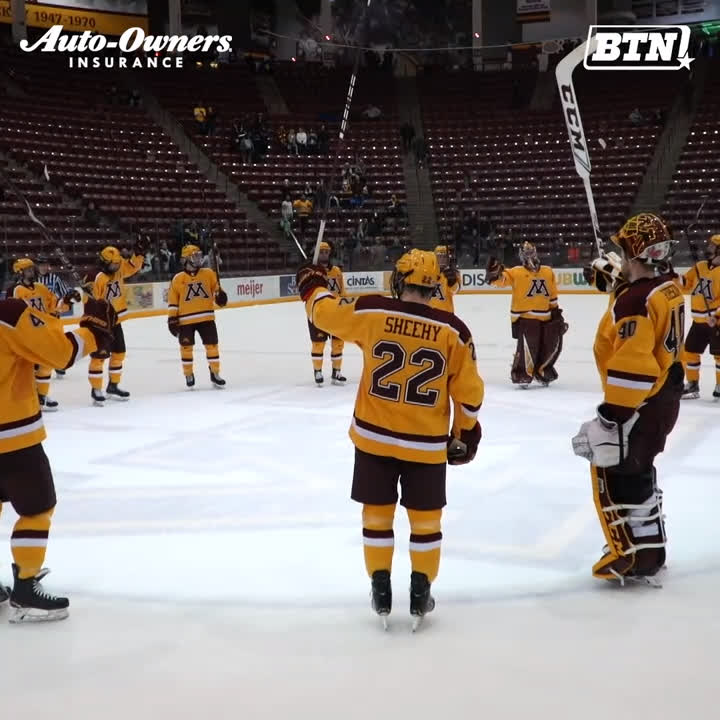 .@GopherHockey is sweeping the Nation ... or at least Michigan. 😏🧹  Next stop: semifinals   BTN x @AutoOwnersIns