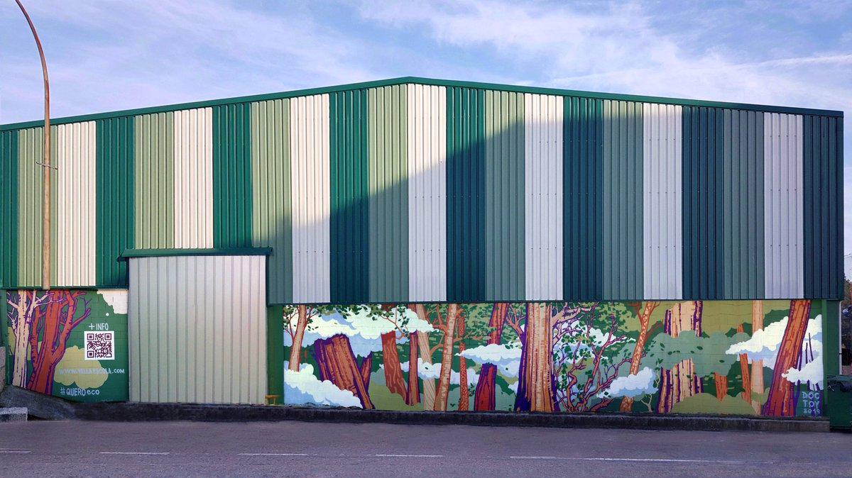 #MuralEco #Antipolución realizado por @Vella_Escola (DocToy) en #Porriño #Galicia #España enmarcado no proxecto #QUEROeco #CulturaUrbana co #MedioAmbiente