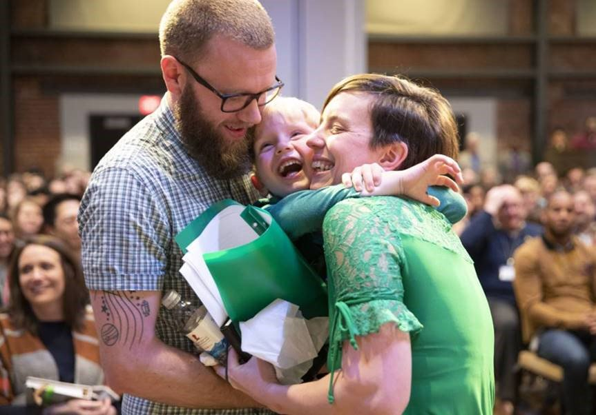 """After St. Jude saved their firstborn son, Josiah, Stephen and Merri named their youngest child after the hospital. Here, Merri hugs Jude after sharing her story with St. Jude fundraisers. """"Josiah wanted to be here, but he couldn't miss his pizza party at school!"""" Merri explained."""