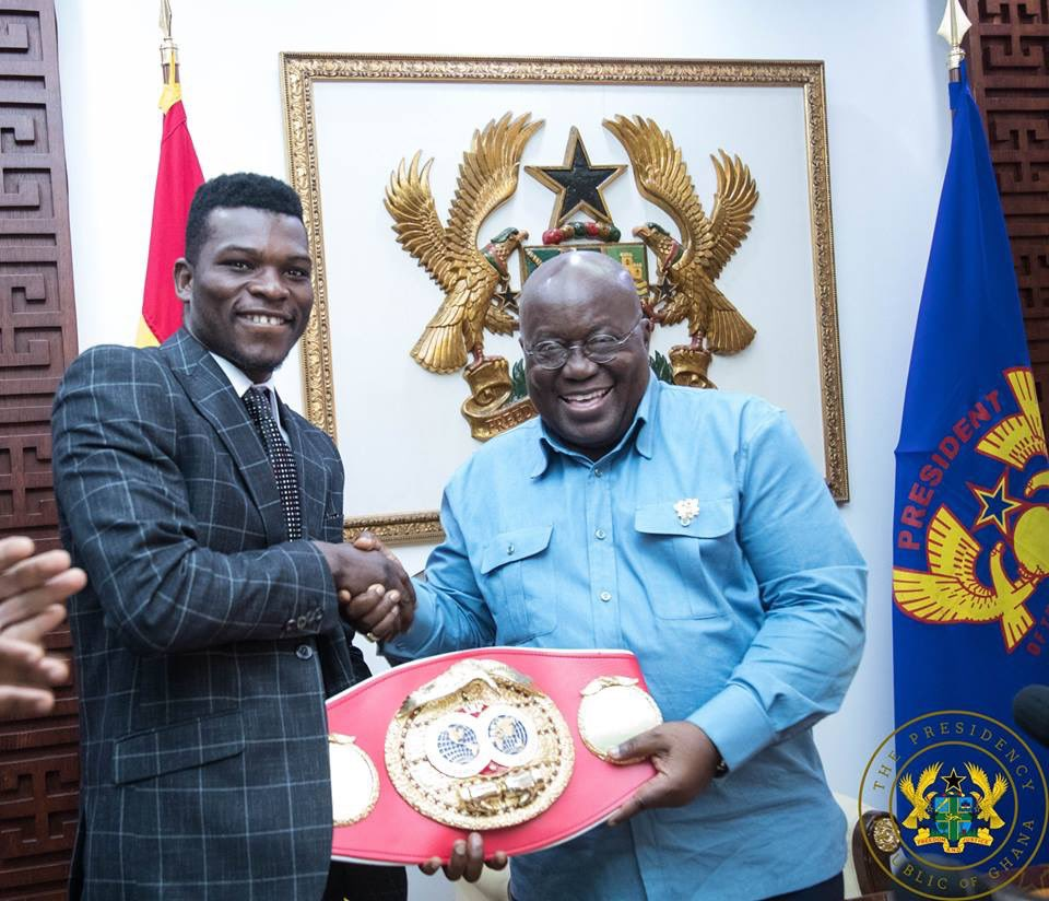 The International Boxing Federation Lightweight World Champion, Richard Oblittey Commey, paid a courtesy call on me at Jubilee House, to present the world title he won after defeating Russia's Isa Chaniev.