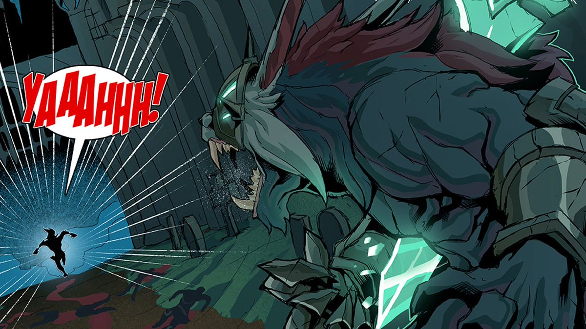 Olaf finds himself in a dark and foreboding cityscape this week in @tomaroosky's Olaf vs. Everything. Also a shaggy boi shows up! @LeagueOfLegends #artoflegends https://na.leagueoflegends.com/en/page/olaf-vs-everything-2…