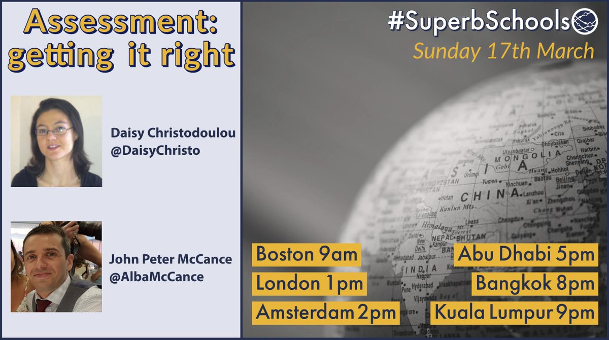 The @SuperbSchools🌐 worldwide edchat is turning the spotlight on assessment this week.  Sunday 17th March - Join Daisy Christodoulou @daisychristo and me as we discuss CJ, whole-class feedback and more.  Blog post with questions to be shared/discussed: http://www.albamccance.com/superbschoolsblog/superbschools-assessment-getting-it-right-with-daisy-christodoulou…