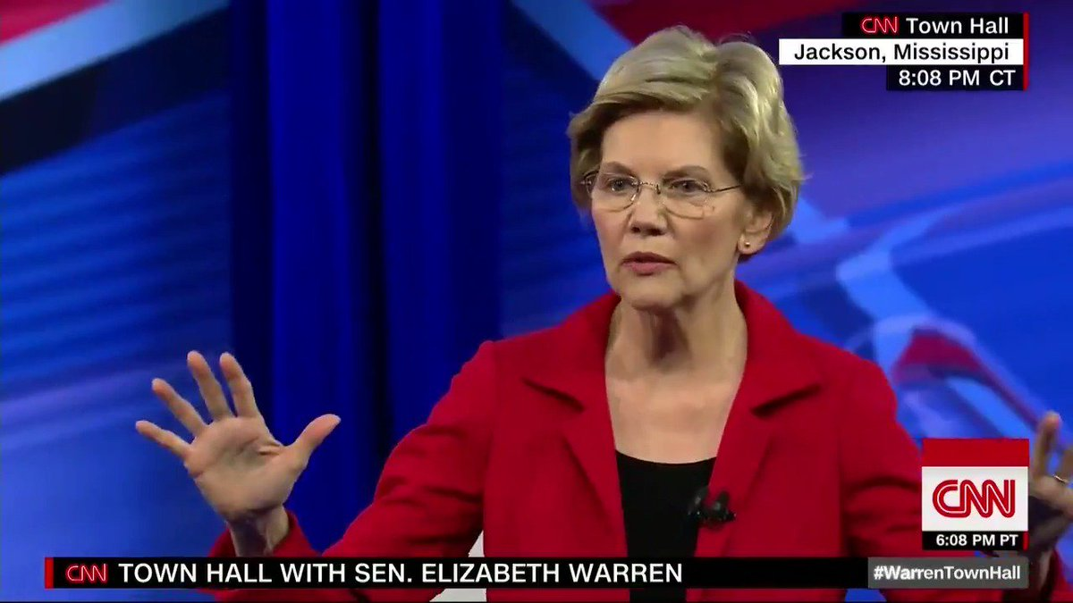 """Elizabeth Warren says she is open to multiple paths to universal health coverage: """"When we talk about Medicare for All, there are a lot of different pathways. What we're all looking for is the lowest cost way to make sure that everybody gets covered."""" #WarrenTownHall"""
