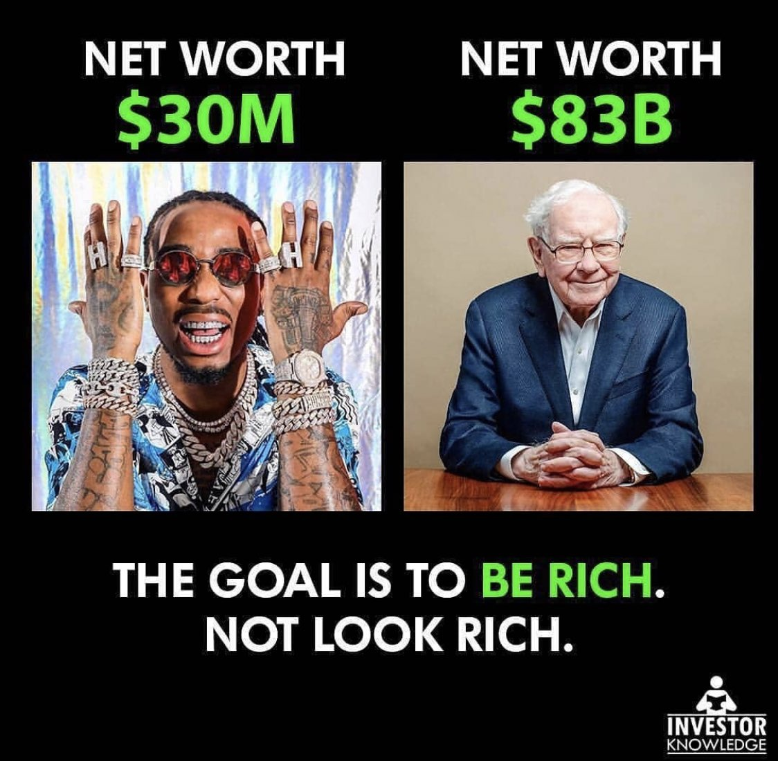 I hate things like this. The difference is that they both have different styles that's all. Zuckerberg spends $300 on his grey t-shirts. Warren and Quavo won't wear the grey t-shirts because that's not their style. Do not over complicate this. <br>http://pic.twitter.com/wTqedAAmoX