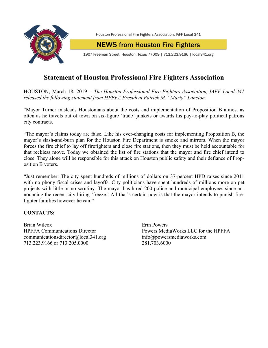 Mayor @SylvesterTurner misleads Houstonians about the costs and implementation of Proposition B almost as often as he travels out of town on six-figure 'trade' junkets or awards his pay-to-play political patrons city contracts. Please see the attached @FirefightersHOU statement.