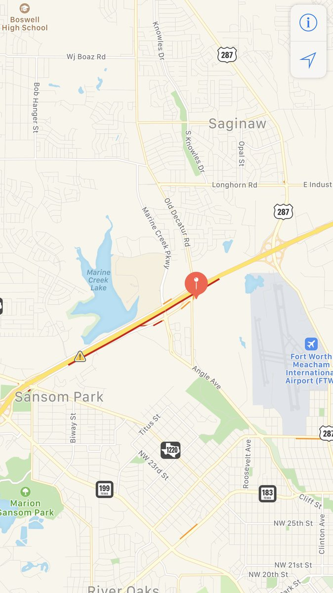 #TrafficAlert NW Loop 820 EB at Old Decatur Rd. Accident involving 18 wheeler hauling equipment. Avoid the area.