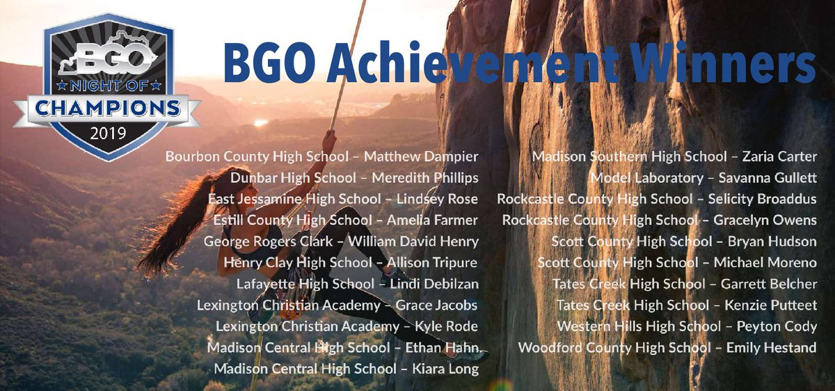 Congrats to our @BGONightOfChamp Achievement Winners.  These high-achieving student-athletes will be acknowledged at our banquet on April 18th @GriffinGateLex, &amp; will receive $250 scholarships along with other gifts.  These young people represent all that is good in HS Sports!<br>http://pic.twitter.com/3FKi4vXVnV